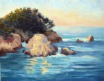 Evening Light Pt Lobos ~ o/c, 14x18 > ~ Prints Available (click here)      ~EMAIL ARTIST ABOUT THIS PIECE